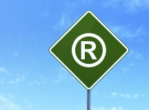 Law concept: Registered on road sign background